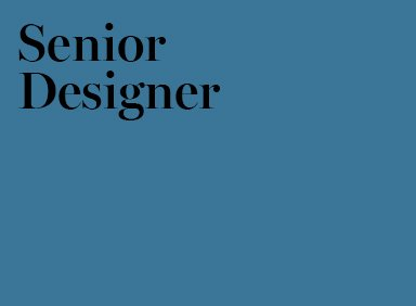 Senior Designer Job London Agency