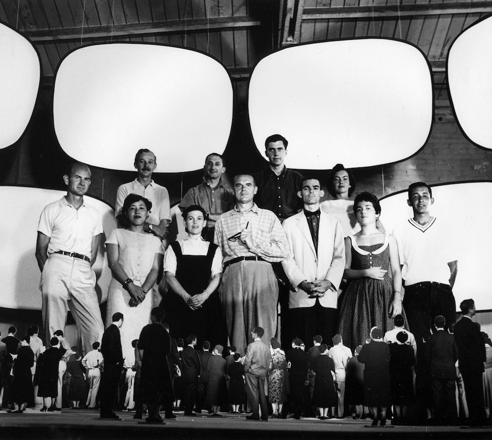 The World of Charles and Ray Eames. Office staff with model for Glimpses of the U.S.A, Moscow 1959 © Eames Office LLC