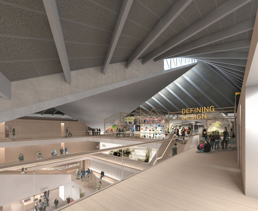 Design Museum Kensington render Top Floor - Permanent Exhibition credit Alex Morris Visualisation