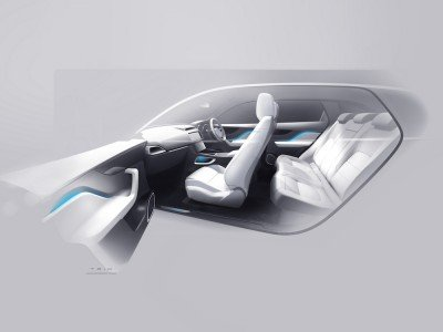 Jaguar F-Pace 2015 interior sketch