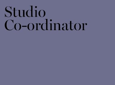 Job for Studio Co-ordinator London