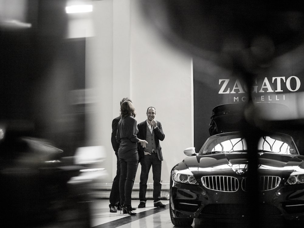 Marella Rivolta-Zagato, Art Director Zagato, Erik Goplen, Exterior Designer BMW Group DesignworksUSA, and Karim Habib, Head of Design BMW Automobiles, at Zagato in Milan