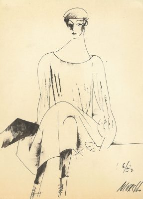 M.Sokolov Woman Wearing a Hat 1937 Ink on paper ©Yuri Petukhov Collection