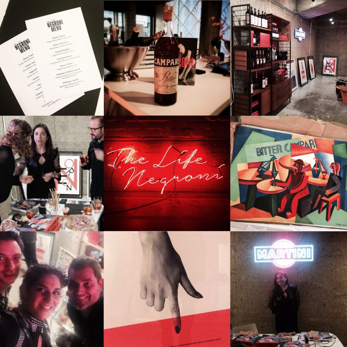 Collage from The Life Negroni book launch
