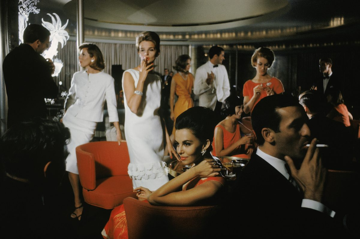 Mod Party on Cruise. A hip party scene photographed by Mark Shaw for a 1962 US Lines Cruise ship advertising campaign. Copyright © Mark Shaw/mptvimages.com