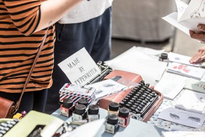 Lilo uses only an old traditional typewriter for her delicate illustrations © Leigh Banks
