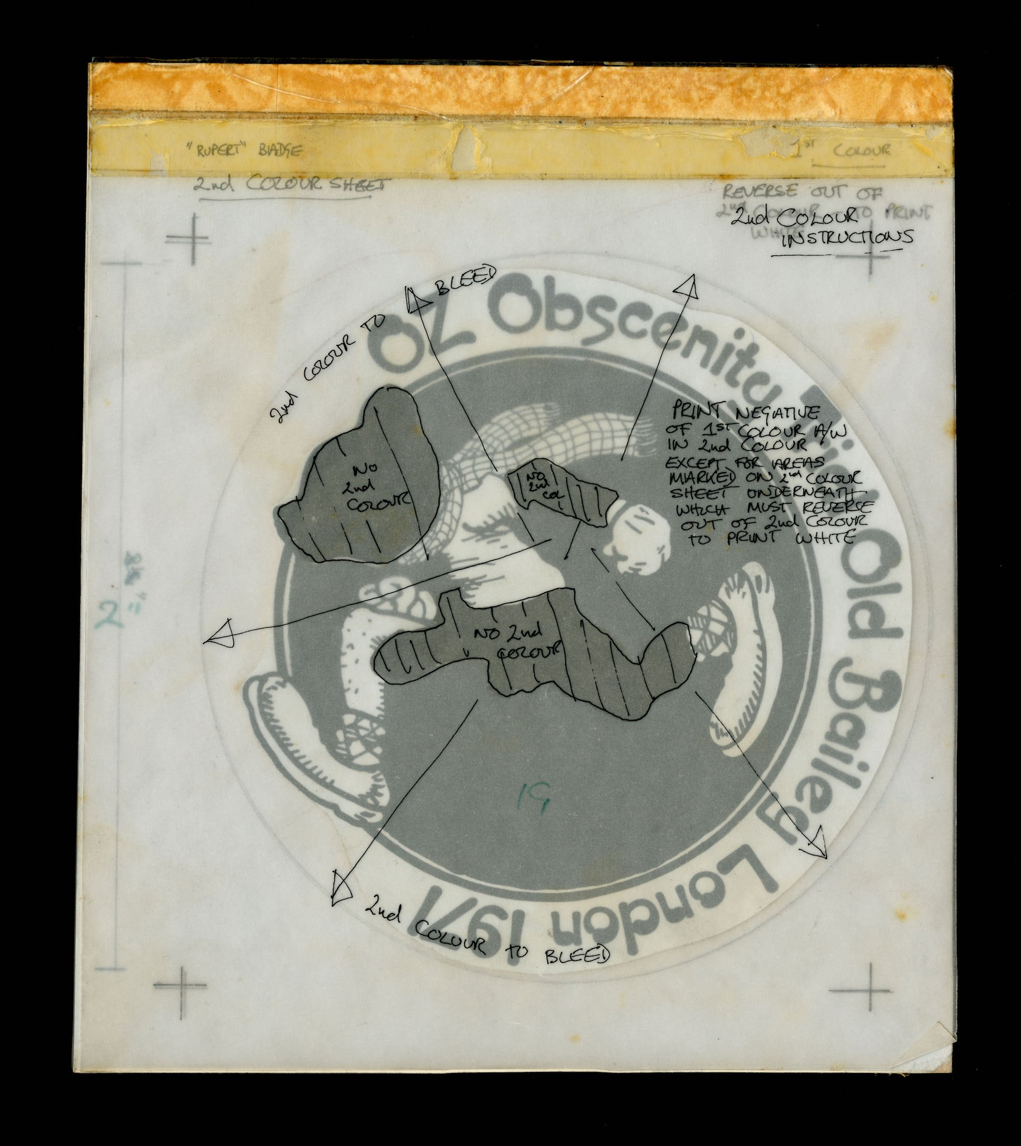Oz Obscenity Trial campaign image design with mark-up, 1971 © V&A