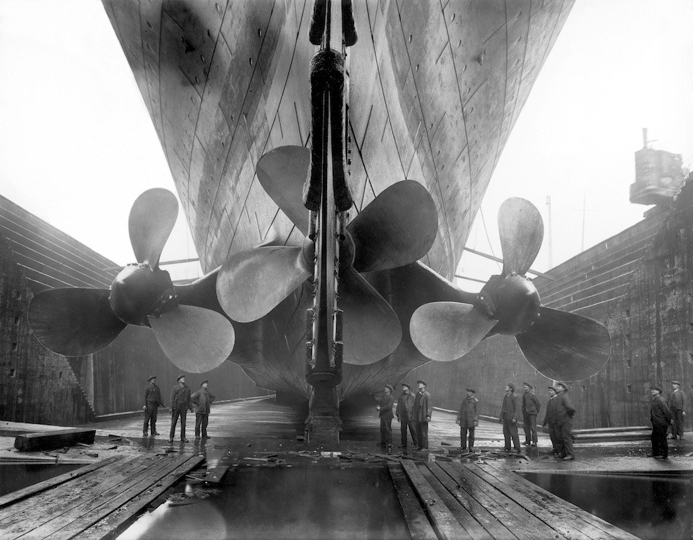 Olympic in dry dock, about 1911. © Getty images