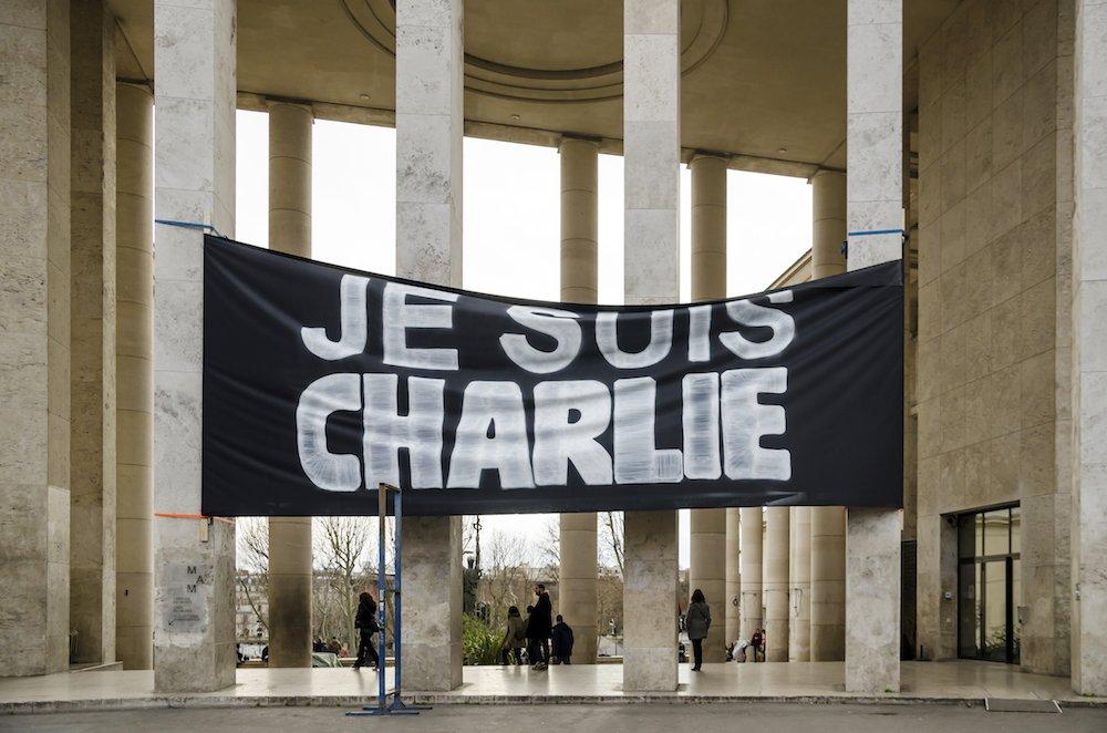 Je suis Charlie banner outside Palais de Tokyo at January 10, 2015 © Paul SKG