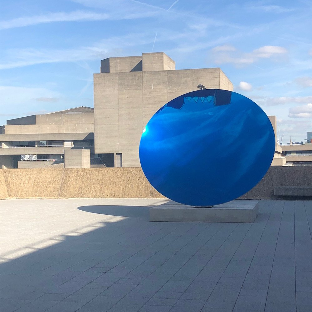 Anish Kapoor, Sky Mirror, Blue 2016 at Shape Shifters at Hayward Gallery