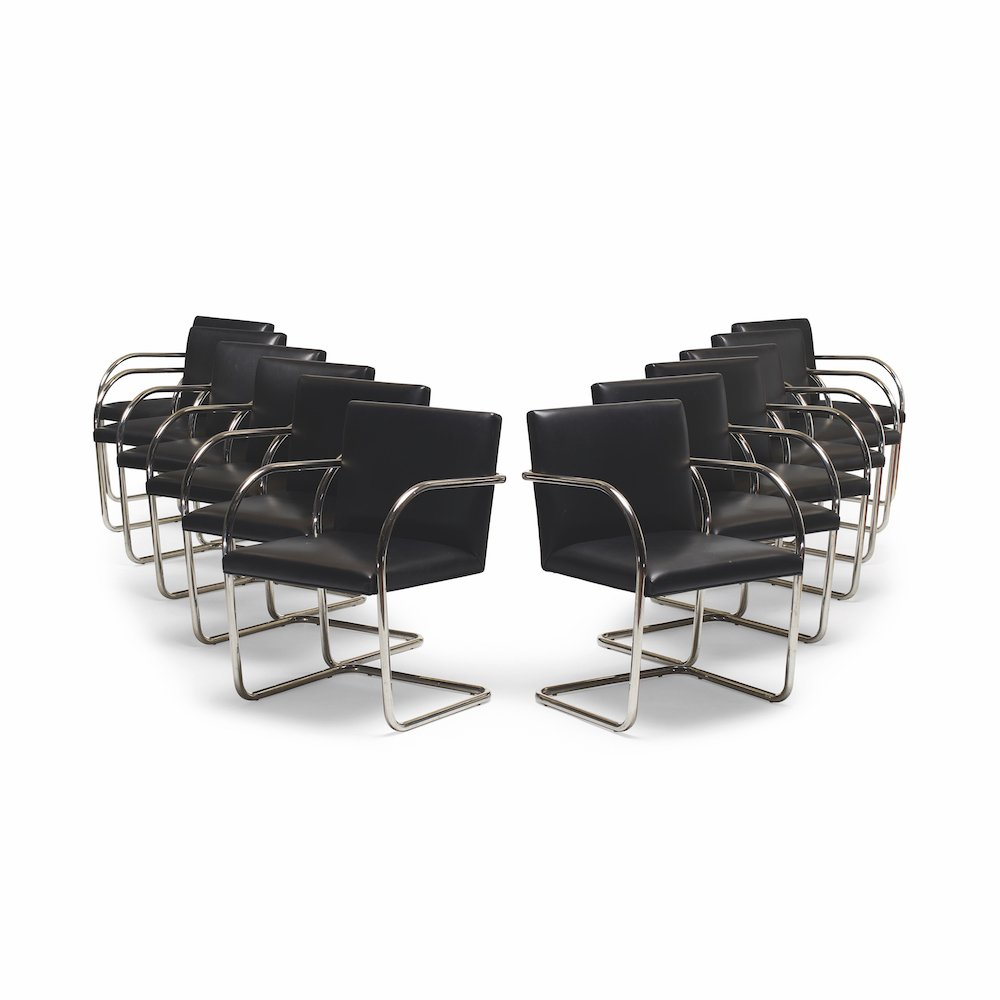 A set of twelve Brno chairs, designed in 1929, and later manufactured by Knoll; these particular chairs are from the Arts Club Chicago, for which Mies van der Rohe designed the interiors in 1951 © Richard Powers