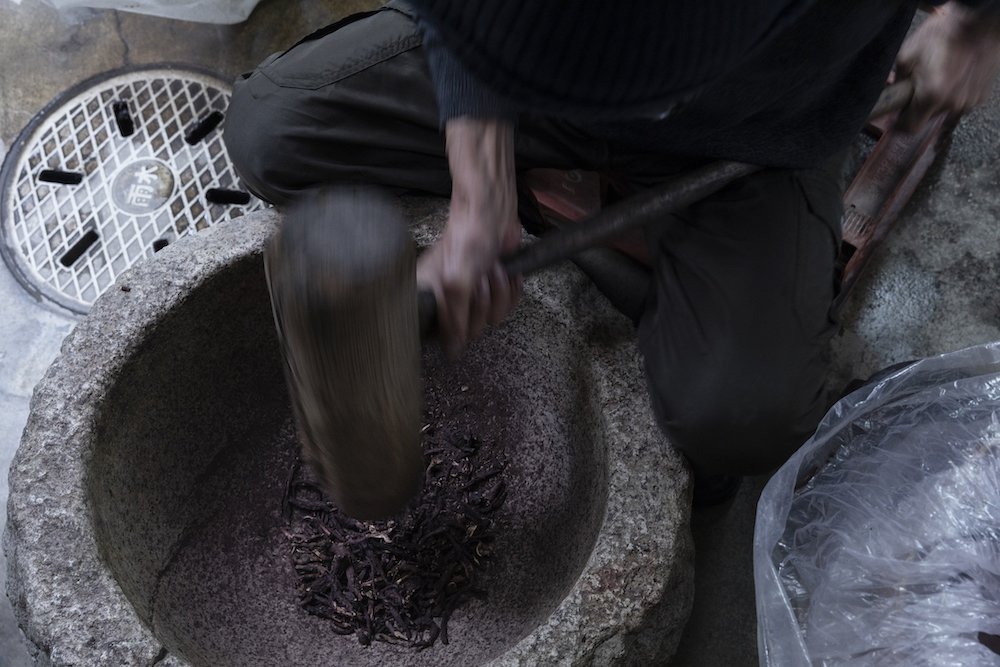 Gromwell root yields purple dye at the Yoshioka Dyeing Workshop in Kyoto
