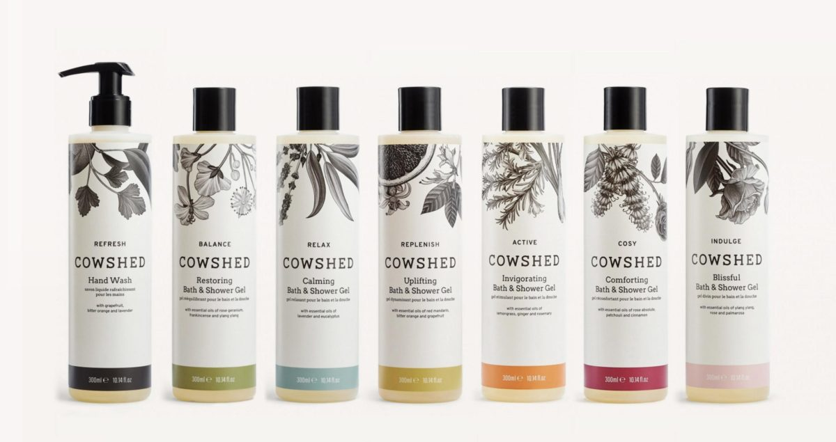 Cowshed wellness product branding by Spinach (spinachbranding.com)