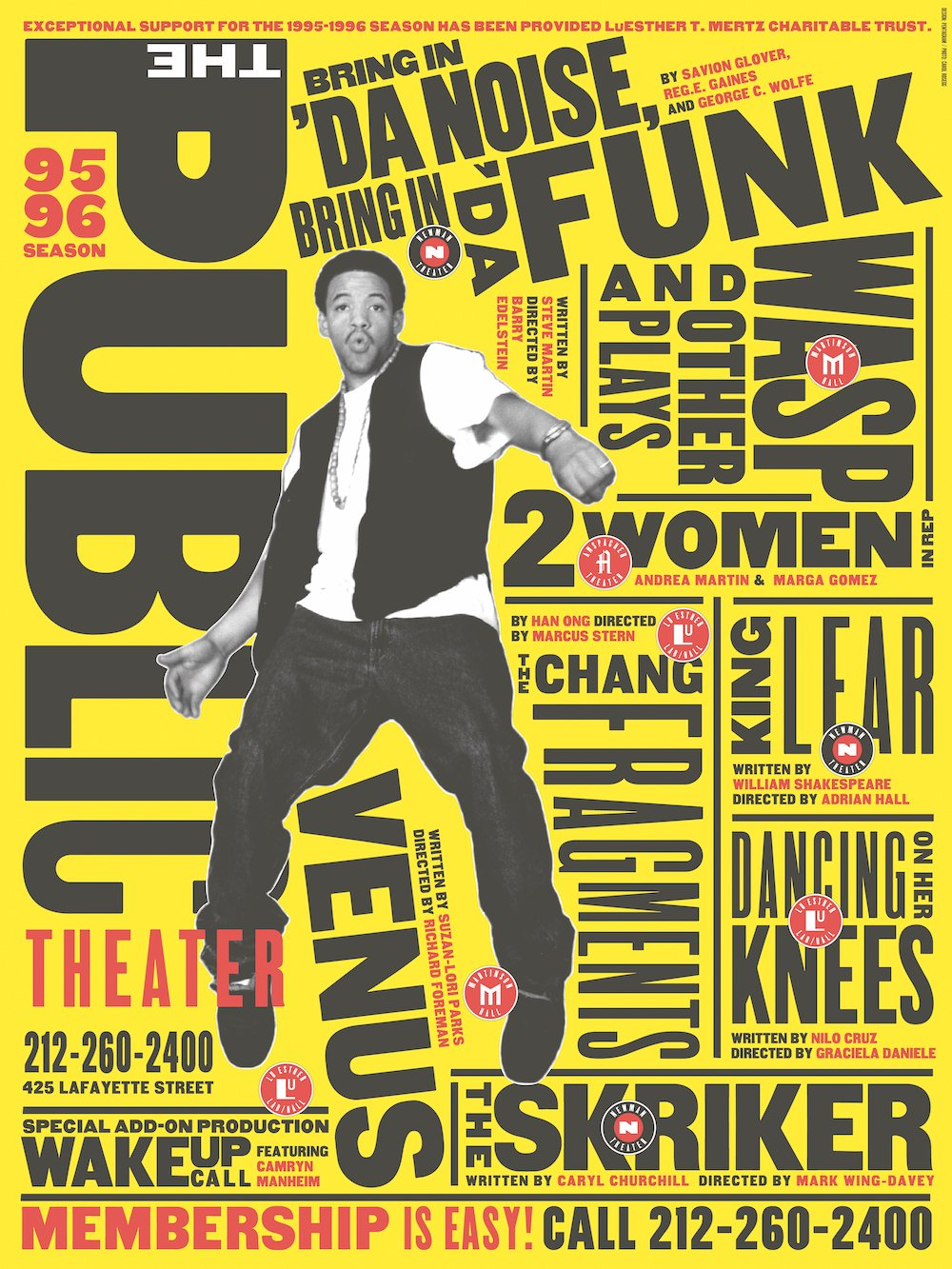 Paula Scher poster for the Public Theatre, New York 1995 © Alexandra Utzmann Courtesy of Yiqing Yin