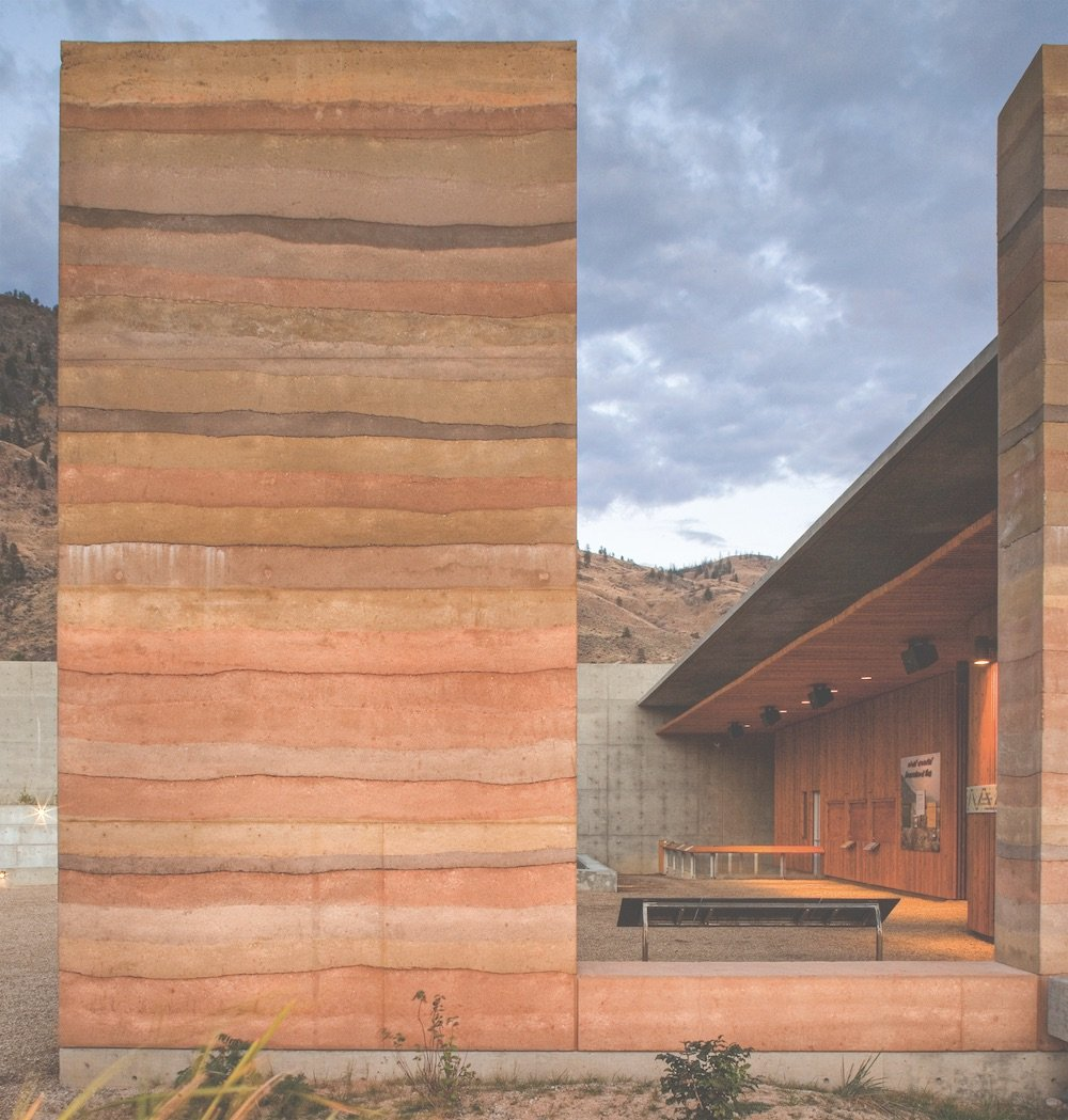 Rammed earth columns by Steven Jimel for the 2008 Villa Janna, Marrakech © Nic LeHoux