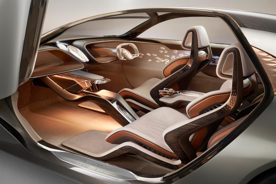 Biometric seat technology in the Bentley EXP100 adapts to the driver's mode be it driving and autonomous © Oli Tennent