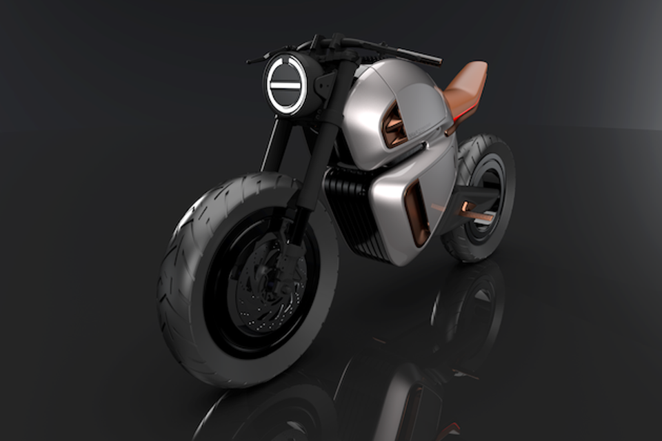 The café racer inspired NAWA Racer is an e-motorbike with a compact hybrid battery and carbon frame © NAWA Technologies