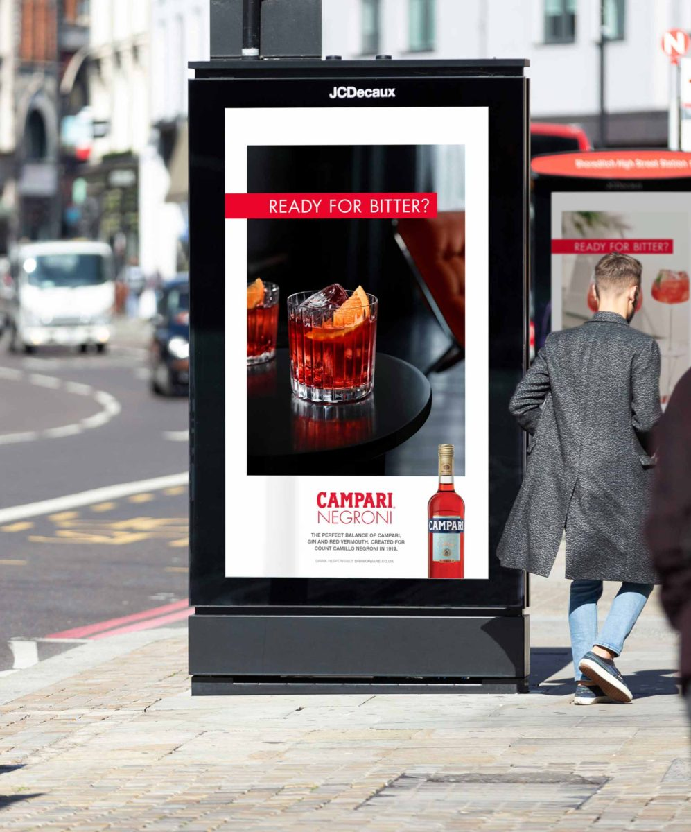 'Ready for Bitter?' advertising campaign for Campari, 2020 © Spinach Branding