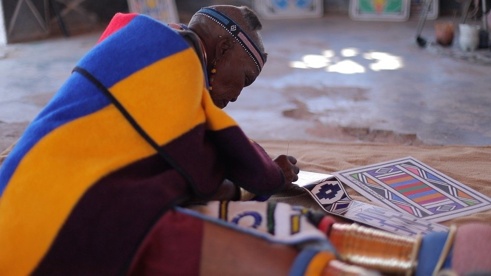 Celebrated South African artist Esther Mahlangu showed a one-of-a-kind artwork for the front and center in the Phantom interior